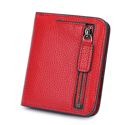 S-ZONE Donna Portafoglio Morbida Pelle Bovina Blocco RFID Piccolo Compatto con Tasca con Zip Porta Monete Finestra ID Foto