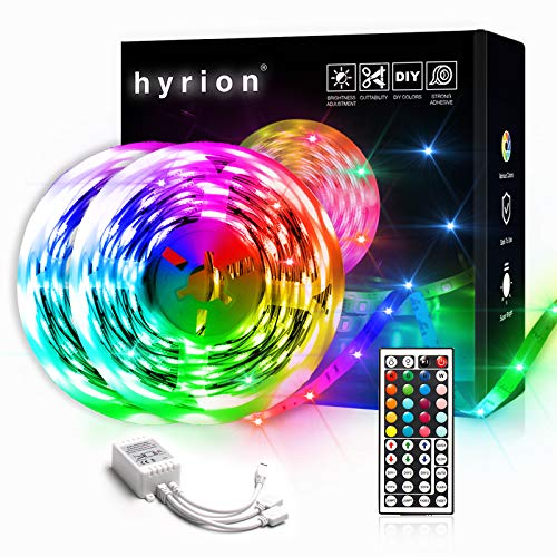 50ft LED Strip Lights, 2 Rolls of 25ft hyrion LED Lights for Bedroom with 44 Keys Remote for Bedroom, Kitchen, Desk, Color Changing Led Strip for Home Decoration