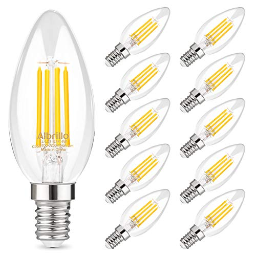Albrillo Bombillas Vela de Filamento LED E14, Bombillas Retro 4W Equivalente a 40W,10 Unidades, Blanco Cálidad 2700K, 400 Lúmenes, No Regulable No Parpadear - para Lámparas Colgante/de Mesa/de Pie