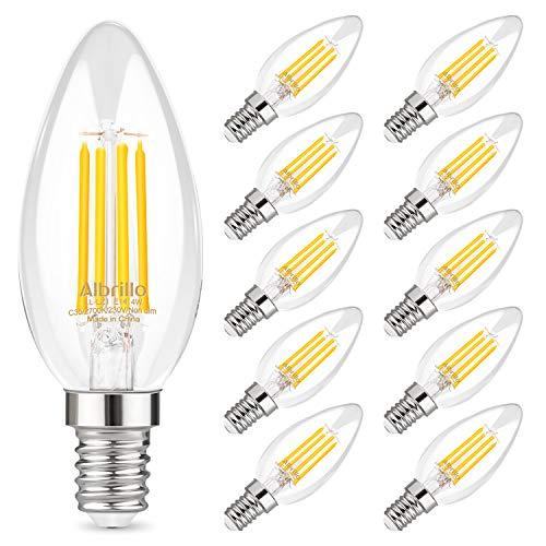 Albrillo 10er Pack 4W E14 LED Kerze Lampe für Kronleuchter, E14 Glühfaden Retrofit Classic, ersetzt 40W Glühlampe, Warmweiß 2700K Energiesparlampe, Filament Fadenlampe, Glas, 360° Abstrahlwinkel