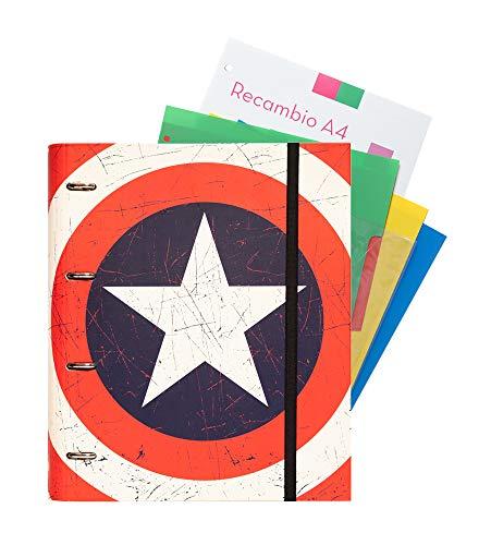 Grupo Erik Editores Premium Marvel - Carpeblock 4 anillas, diseño Capitan America Shield, 32 x 27.5 cm