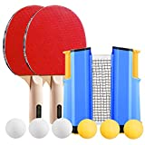 WOMGF Raquette de Ping Pong Set - 2 Raquette de Tennis de Table+ 1 Rétractable Filet de Table Tennis+ 6 Balle + 1 Sac,Portable Ping-Pong Accessoire