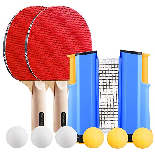 WOMGF Set da Ping Pong Racchette Professionale Rete da Ping Pong con 6 Palline da Ping Pong, Portatile,per Indoor Outdoor Tavolo da Ping Pong Gioco