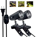 Taysing 2 Pack Clamp Lamp Fixture with 50W UVA UVB Light Bulbs Dimmable Switch E26/E27 for Reptiles,Chicken Coop,Adjustable Habitat Lighting & Heat Lamps Holder Stand