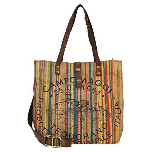 Campomaggi Shopper 33 cm beige/Military Stained/Black Print