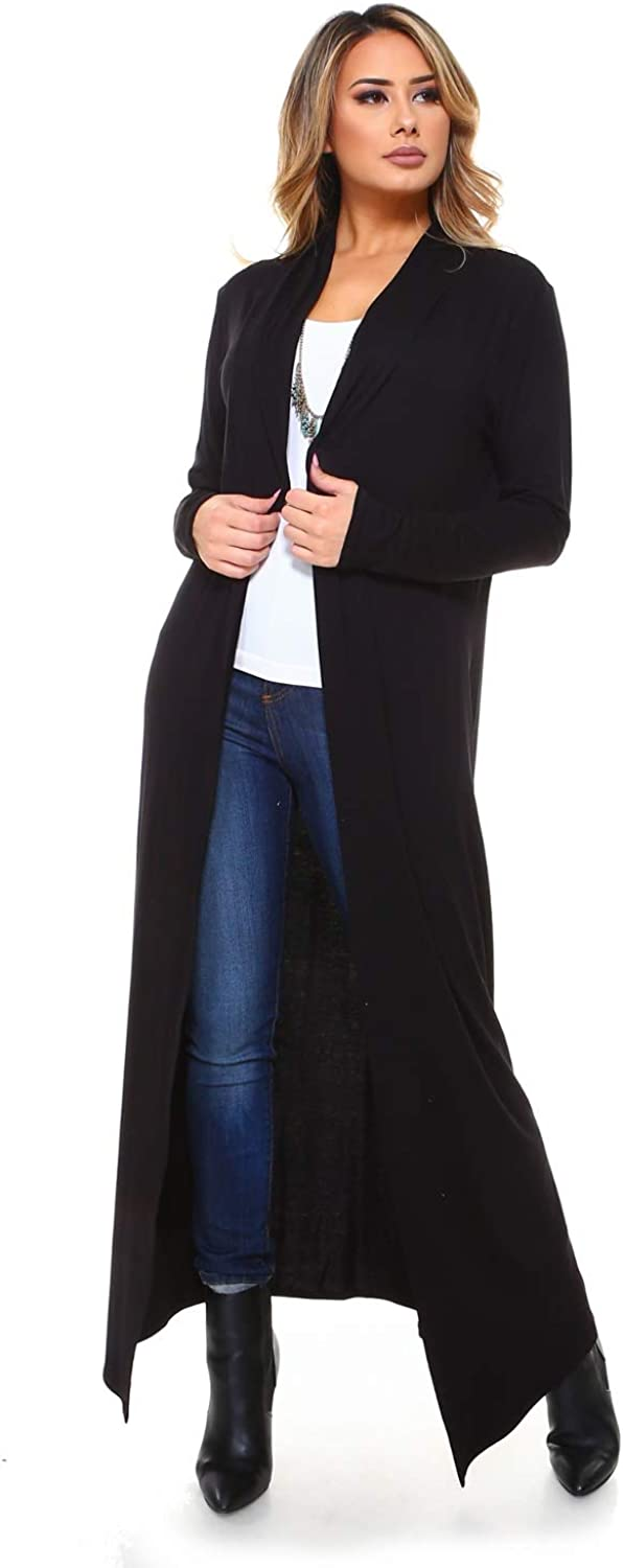 Isaac Liev Women's Maxi Cardigan – Casual Long Flowy Open Front Floor Length Drape Lightweight Duster Sweater Made in USA