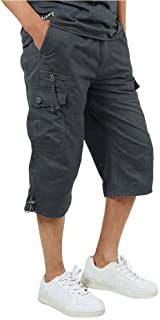 Men's 3/4 Cotton Cargo Short Pants Casual Loose Fit Outdoor Capri Long Shorts with Seven Pockets