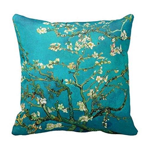 Celycasy, federa per cuscino decorativa per divano e camera da letto, motivo: Vincent Van Gogh, con albero di mandorle fiorite, motivo floreale, 45,7 x 45,7 cm