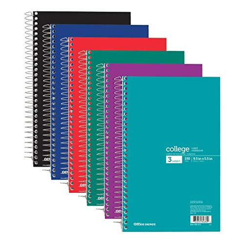 Office Depot Wirebound Notebook, Perforated, 6in x 9 1/2in, 3 Subjects, College Ruled, 150 Sheets, Assorted Colors (No Color Choice), 06900-06681