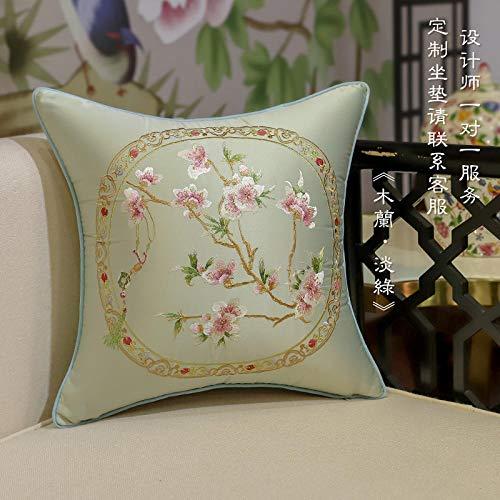 Classical chino bordado flor y pájaro almohada estilo chino caoba sofá cojín cubierta sala de estar silla silla pillow almohada gran almohada-50x50 (funda de cojín)_Mulan'verde claro'