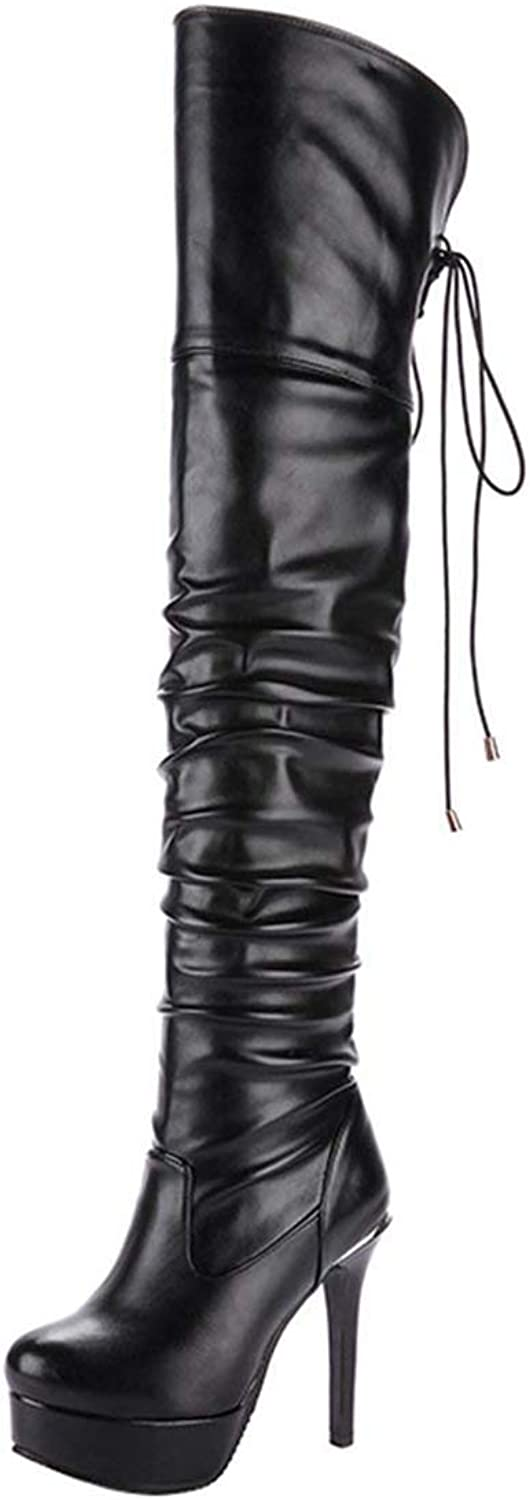 Editlook Womens Thigh High Heel Lace Up Boots Over The Knee Stiletto Platform Patent Boots Size 4 B(M) US,Black