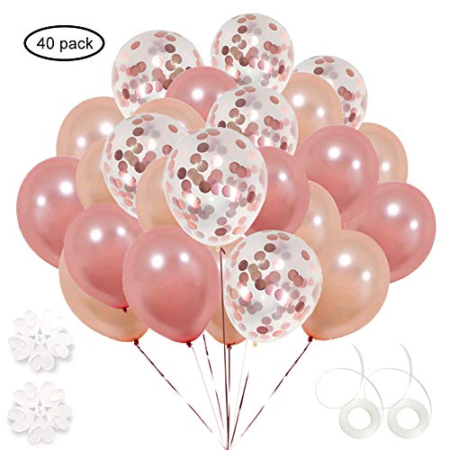 ETLEE 40 Stück Roségold Konfetti Luftballons,12 Zoll Champagner Gold Latex Ballonfür Hochzeit und Geburtstag PartyDekoration, Baby-Duschen, Braut Geschenke, Valentinstag, Silvester