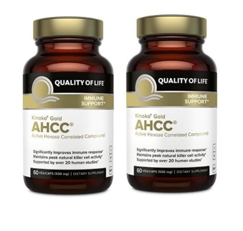 アクセシブル玉面白い【海外直送品】【2本セット】Quality Of Life Labs - Kinoko Gold AHCC 500mg. - 60カプセルx2本