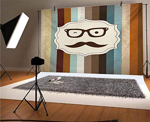 Modern 8x6 FT Vinyl Backdrop PhotographersFunny Man Face with Moustache and Glasses Winking on Striped Background Sir Artwork Background for Party Home Decor Outdoorsy Theme Shoot Props