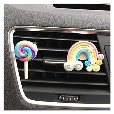 XU TAO Mignon Arc-en-Ciel Lollipop Voiture de Voiture de Parfum Clip Voiture assainisseur de Voiture Accessoires d'intérieur Automatique pour Fille (Color Name : Orange)