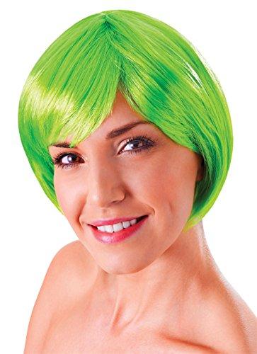 Bristol Novelty BW859 Flirty flick-pruik, blond, eenheidsmaat groen Eén maat neongroen