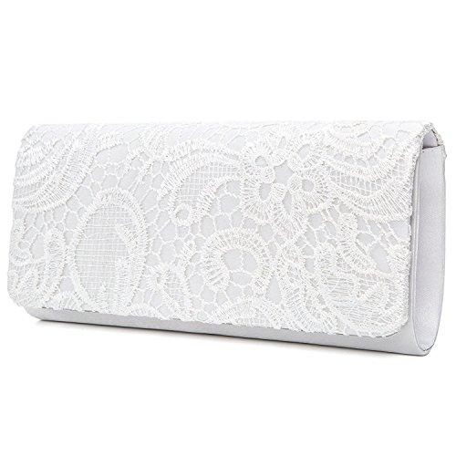 EULovelyPrice Damen Elegant Spitze Abendtasche Party Clutches Taschen Braut Hochzeit Handtaschen Damen (Weiß)