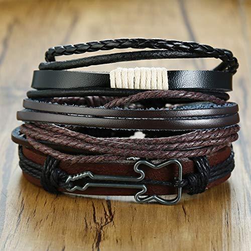 shangwang 4-Piece Set/Men's Braided Winding Leather Bracelet Vintage Life Tree Rudder Charm Wooden Bead Wristband 459