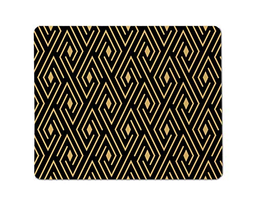 Yeuss roosters Rechthoekig anti-slip Mousepad geometrisch patroon met lijnen. Gouden en zwarte textuur. Grafisch modern patroon. Eenvoudig rooster grafisch ontwerp Gaming muismat 200mm x 240mm