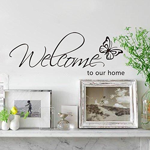 Sticker murale Rainbow Fox con scritta 'Welcome to my Home' Arte da Parete Soggiorno ingresso decalcomania adesivo