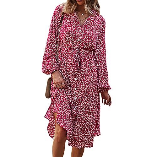 Jeqckloves Vestido floral de manga larga para mujer, cuello descubierto, botón de longitud media, vestido con cinturón, elegantes vestidos casuales de otoño, rosso, M