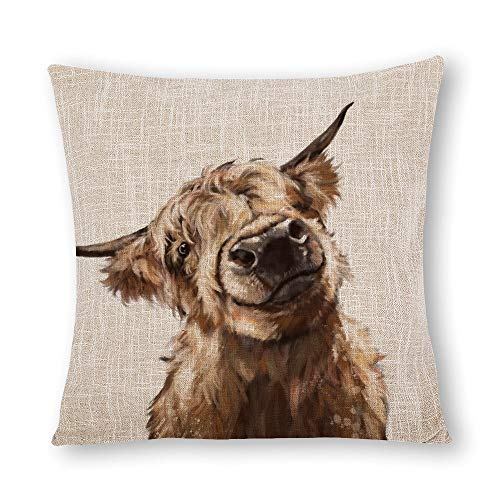 VinMea Decorative Cotton Linen Pillow Covers, Highland Cow Throw Pillow Case Cushion Cover Home Decor,Square 16 X 16 Inches