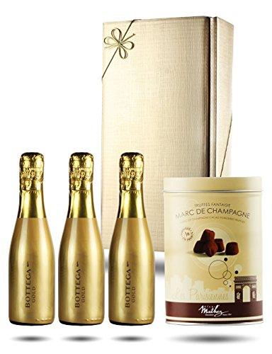 Prosecco Gift Box - The Gold Rush, Bottega Gold Prosecco Trio & Chocolate Truffles