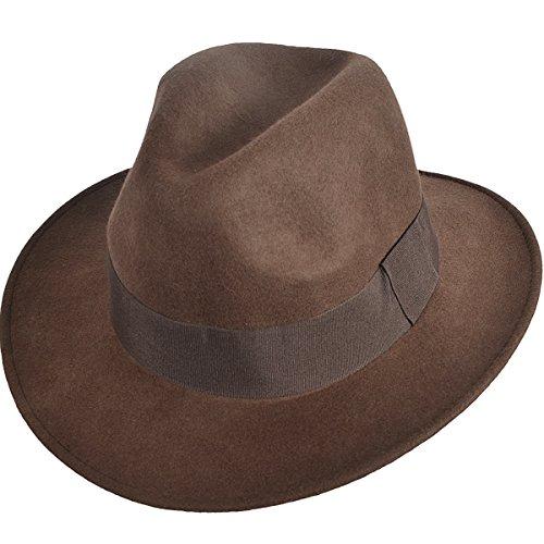 Jazmiu Herren Hüte Winter Mode Filzhut Wintermütze - Fedora Hut mit breiter Krempe - 100% Wollfilz (Brown)
