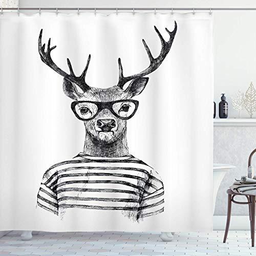 lovedomi Hirsch Duschvorhang Verkleidet Rentierkopf Human Hipster Stil mit Brille Striped Shirt Stoff Badezimmer Dekor Set mit Haken 60x72 Zoll Anthrazitgrau