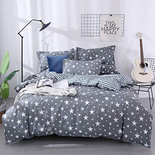 BBUY Juego de ropa de cama infantil con diseño de estrellas y lunares, para niña, 135 x 200 cm, funda nórdica suave con funda de almohada y cremallera (gris estrella, 220 x 240 cm)