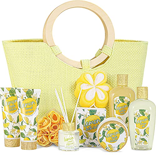 Spa Gift Baskets for Women- 10 Pcs Lemon Scent Gift in Home Bath Gift Sets in Beautiful Tote Bag,Best Gift Sets for Mother's Day Christmas Birthday Gifts for Her