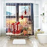 AJ WALLPAPER 3D Navidad Navidad ventana alféizar regalo 024 cortina de ducha resistente al agua fibra baño ventanas inodoro Reino Unido Zoe (tamaño personalizado (mensaje eBay us))