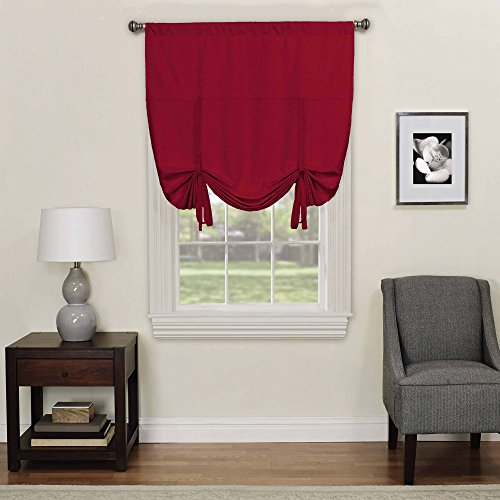 ECLIPSE Blackout Curtains for Kitchen - Kendall 42' x 63' Short Single Panel Tie Up Shades for Small Window, Ruby