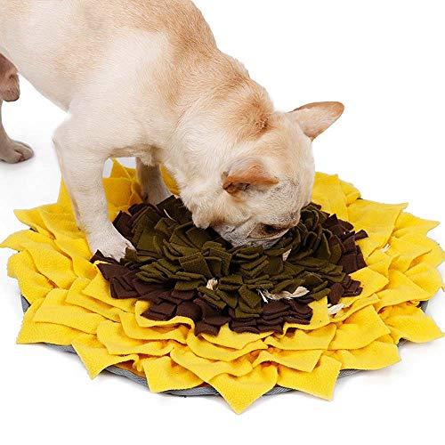 SWNN casa Perro Mascota Oler Las Flores Que Huelen Almohadilla For Alfombra De Girasol Rompecabezas Anti-Asfixia Entrenamiento del Perro Tapete De Yoga Slow Food Recipiente For Perros 48 * 48cm