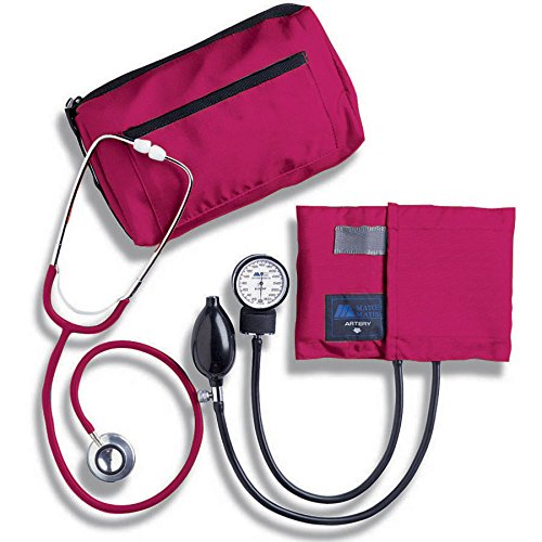 MABIS MatchMates Aneroid Sphygmomanometer and Dual Head Stethoscope Combination Home Blood Pressure Kit with Calibrated Nylon Cuff, Professional Quality, Carrying Case, Magenta -  01-260-151