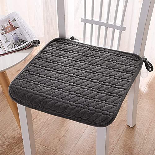 XHNXHN - Cuscini per sedia da pranzo in velluto, per interni ed esterni, comodi cuscini antiscivolo per la casa, traspiranti, per ufficio e cucina, 40 x 40 cm, colore grigio scuro