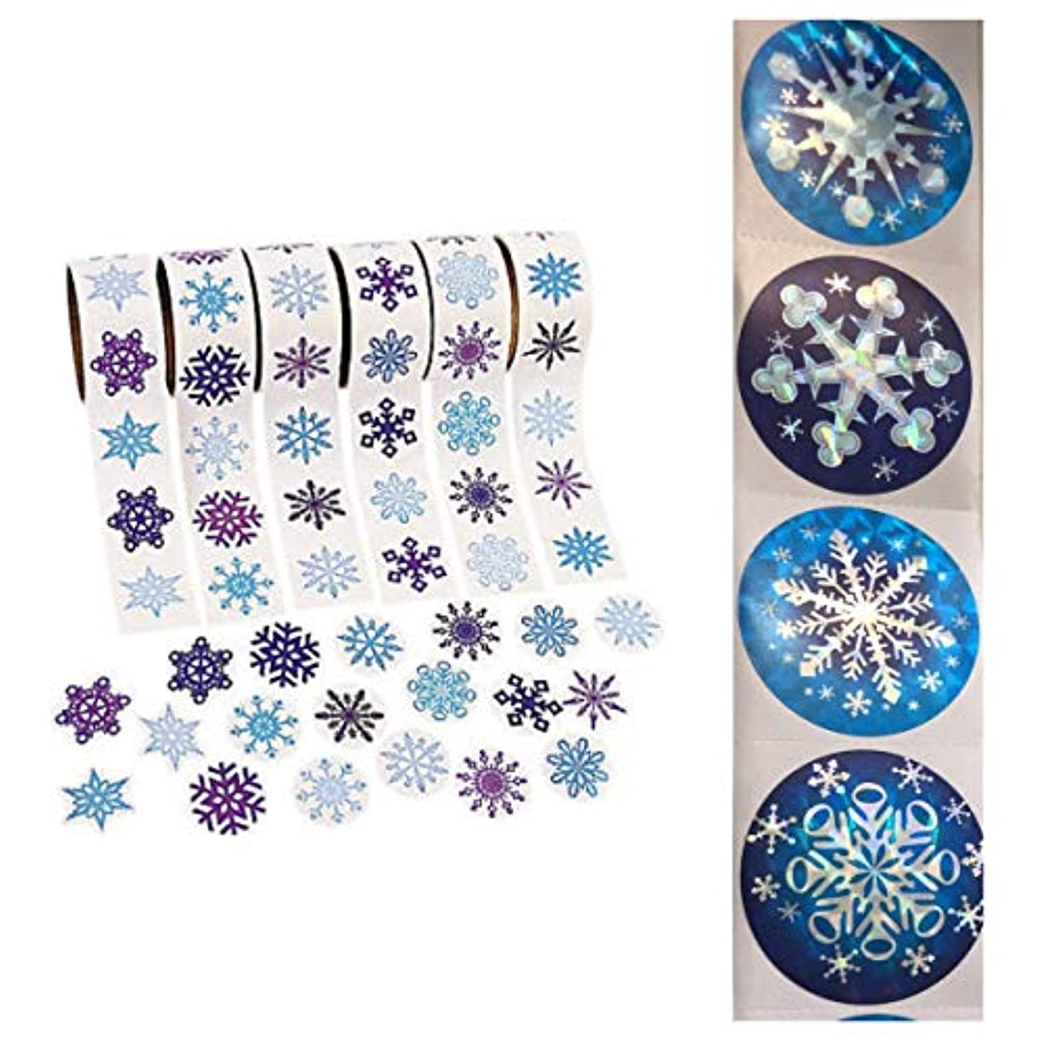 Huge Mega Lot of 700 SNOWFLAKE Stickers (7 Rolls of 100 ea) WINTER Holiday CRAFTS Scrapbooking - CHRISTMAS Decor FROZEN Party