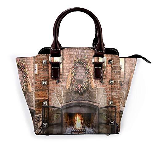 BROWCIN Frohe Weihnachten Wintersaison brennender Kamin mit Holz auf roter Backsteinmauer Abnehmbare mode trend damen handtasche umhängetasche umhängetasche