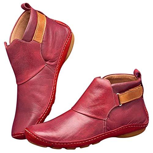 KUYG Wandellaarzen voor dames, met voetboogondersteuning, retro, antislip, sneeuwschoenen, casual, modieus, comfortabele platte schoenen.