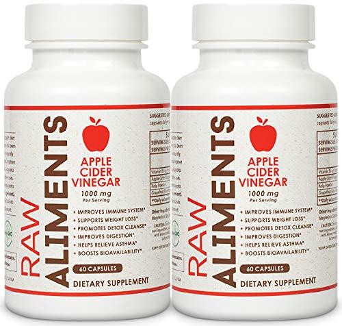 Raw Aliments Apple Cider Vinegar Pills for Detox & Cleanse Supplement 1000mg 120 Veggie Capsules w/Vitamin B6, Kelp & Grapefruit Powder, 60 Day Supply