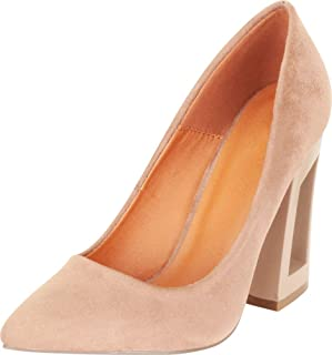 Cambridge Select Women's Pointed Toe Slip-On Chunky Block Hollow Flared Heel Pump