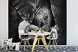 awallo Papier peint photo Motif éléphants Noir Blanc 336 x 260 cm Impression numérique XXL Impression numérique Papier peint non tissé de haute qualité Fabriqué en Allemagne Facile à utiliser