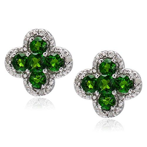 Hutang Jewelry Ohrringe aus Sterlingsilber, in Blumenform, mit natürlichem Chromdiopsid