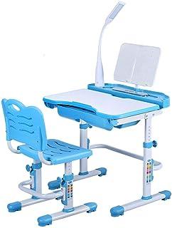 Bureau Enfant réglable en Hauteur avec Chaise Bibliothèque pour Enfants avec tiroir et Lampe à LED ( Bleu)