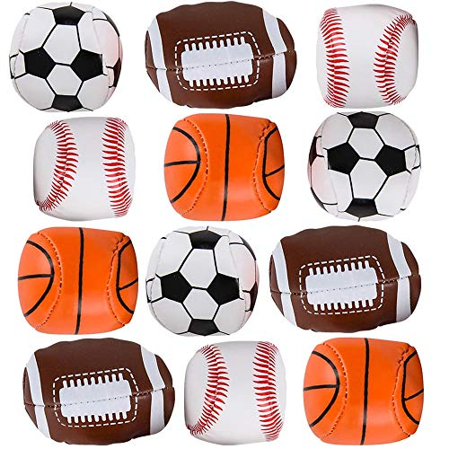 ArtCreativity Soft Stuff Sports Stress Balls, Set of 12, Includes Basketball, Football, Baseball, and Soccer Squeezable Anxiety Relief Balls, Cool Party Favors and Goodie Bag Fillers for Boys & Girls
