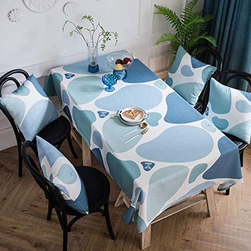 Alayth Tischdecke Eckig Rechteckige Abwaschbar Wasserdichtes Bezugstuch Home Tischdecke Gartentischdecke Blaudruck-135 * 180cm
