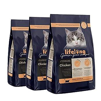 Marque Amazon Lifelong Aliment pour chat adultes stérilisés sans céréale, élaboré avec de la viande fraîche de poulet - 3 kg * 3