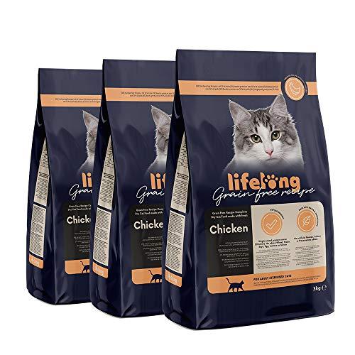 Lifelong Alimento seco para gatos adultos esterilizados con pollo fresco, receta sin cereales - 3kg * 3