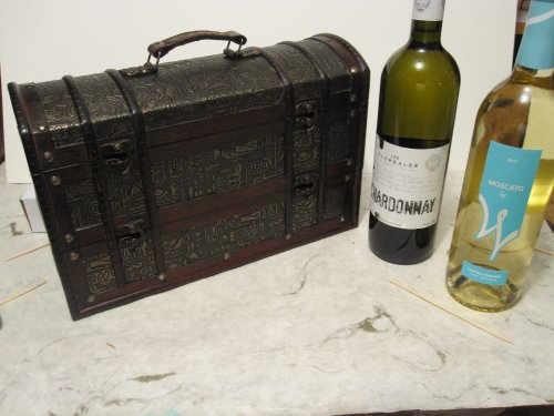 Treasure Chest Wood Wine Box Holder for 2 Bottles Great Fathers Day Gift