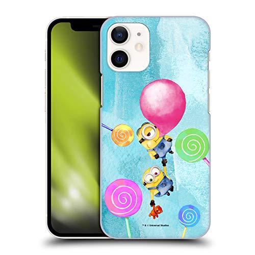 Head Case Designs Oficial Despicable Me Bob y Stuart Burbuja Minions Acuarela Carcasa rígida Compatible con Apple iPhone 12 Mini